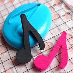 Music Note  / Eighth Note (24mm) Silicone Flexible Push Mold - Jewelry, Charms, Cupcake (Clay Fimo Premo Resin Wax Gum Paste Fondant) MD551