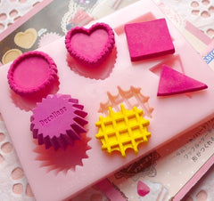 Cake Tart Cupcake Waffle Mold Set from Padico (Japan) Decoden Mold Kawaii Miniature Sweets Jewelry Cabochon (Resin Clay, Paper Clay) MD012
