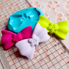Bow Mold Bowtie Mold w/ Flower 34mm Silicone Flexible Mold Cupcake topper Cake Decoration Mold Kawaii Fondant Mold Polymer Clay Resin MD485