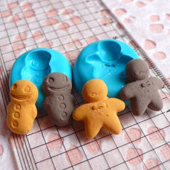 Set of 2 Gingerbread Man / Cookies (17mm to 19mm) Silicone Flexible Push Mold - Miniature Food, Sweets, Jewelry, Charms (Clay Fondant) MD273