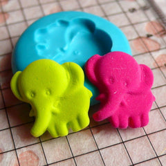 Elephant (16mm) Silicone Flexible Push Mold - Miniature Food, Cupcake, Jewelry, Charms (Resin Paper Clay Fimo Wax Gum Paste Fondant) MD715