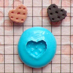 Heart Shaped Cookie / Biscuit (11mm) Silicone Flexible Push Mold Miniature Food Sweets Jewelry Charms (Clay, Fimo, Gum Paste, Fondant) MD771