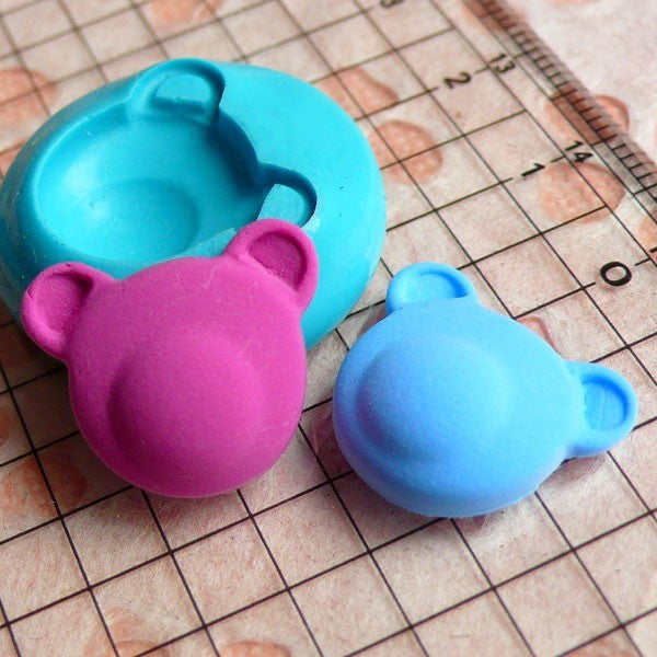 Bear Head (18mm) Silicone Flexible Push Mold - Jewelry, Charms, Cupcake (Clay Fimo Premo Epoxy Casting Resin Wax Gum Paste Fondant) MD445