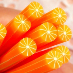 Orange Polymer Clay Cane Fruit Fimo Cane Slices (Cane or Slices) Nail Art Dollhouse Food Jewellery Miniature Sweets Craft Scrapbook CF002
