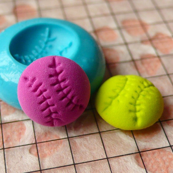 Baseball (11mm) Silicone Flexible Push Mold Jewelry Charms Cupcake (Clay, Fimo, Premo, Casting Resins, Epoxy, Wax, Gum Paste, Fondant) MD795