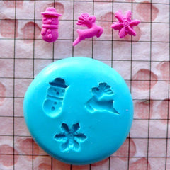 Miniature Mold Christmas Cookie Set Tiny Snowman Snow Flakes Deer 7-9mm Silicone Flexible Mold Fimo Polymer Clay Mold Nail Art Kawaii MD681