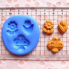 Set of 3 Flower / Tulip / Mushroom (14mm to 18mm) Silicone Flexible Push Mold - Jewelry, Charms, Cupcake (Clay Fimo Gum Paste Fondant) MD590