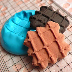 Waffle (22mm) Silicone Flexible Push Mold - Miniature Food, Cupcake, Jewelry, Charms (Resin Clay Sculpey Fimo Wax Gum Paste Fondant) MD307