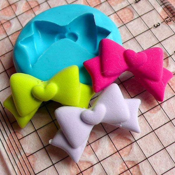Ribbon / Bow with Heart (24mm) Silicone Flexible Push Mold - Miniature Food, Sweets, Jewelry, Charms (Clay, Fimo, Resins, Gum Paste) MD470