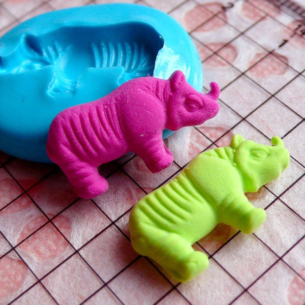 Rhinoceros (21mm) Silicone Flexible Push Mold - Jewelry, Charms, Cupcake (Clay Fimo Casting Resins Epoxy Wax Soap GumPaste Fondant) MD420