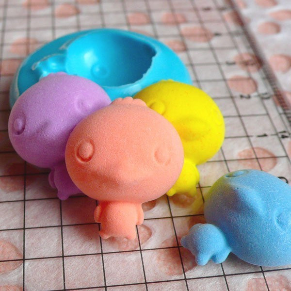 Chick / Duck with Big Head (19mm) Silicone Flexible Push Mold - Jewelry, Charms, Cupcake (Clay Fimo Resins Wax Soap Gum Paste Fondant) MD737