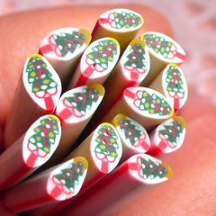 Polymer Clay Cane - Christmas Tree - for Miniature Food / Dessert / Cake / Ice Cream Sundae Decoration and Nail Art CCH02