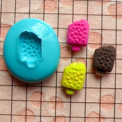 Tiny Bitten Ice Cream Bar / Popsicle with Chocolate Chip (8mm) Silicone Flexible Push Mold Miniature Sweets Jewelry Charms (Clay Fimo) MD783