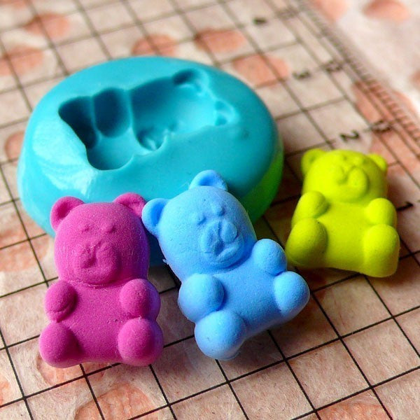 Bear (14mm) Silicone Flexible Push Mold - Miniature Food, Sweets, Jewelry, Charms (Clay, Resins Casting, Gum Paste, Fondant, Soap) MD448