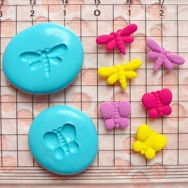 Set of 2 Butterfly and Dragonfly (10, 14mm) Silicone Flexible Push Mold - Miniature Sweets Jewelry Charms (Clay Fimo GumPaste Fondant) MD417