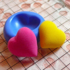 Puffy Heart (15mm) Silicone Flexible Push Mold - Jewelry, Charms, Cupcake (Clay Fimo Casting Resins Epoxy Wax Soap Gum Paste Fondant) MD502