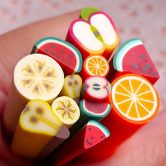 Polymer Clay Cane Fruit Assorted Big Small Canes Mix (12pcs / 2.5cm) Miniature Sweets Deco Kawaii Cupcake Fruit Tart Fimo Cane Nail CMX050