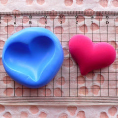 Heart (31mm) Silicone Flexible Push Mold - Miniature Food, Sweets, Jewelry, Charms (Clay, Fimo, Resins, Wax, Soap, Gum Paste, Fondant) MD513