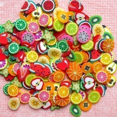 Polymer Clay Cane Fruit Assorted Fimo Clay Slices Kawaii Mix Miniature Sweets Nail Deco Fruit Tart Fimo Cane Nail Art Deco (200 pcs) CMX003