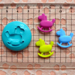 Scrapbooking Mold Rocking Horse 18mm Flexible Silicone Mold Animal Jewelry Charms Kawaii Cabochon Polymer Clay Gum Paste Fondant Mold MD418
