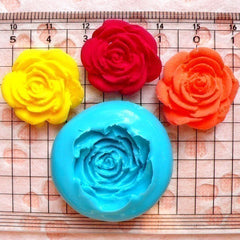 Flower / Rose (22mm) Silicone Flexible Push Mold - Jewelry, Charms, Cupcake (Clay Fimo Casting Resin Epoxy Wax Gum Paste Fondant) MD775