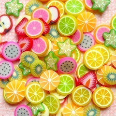 Fruit Polymer Clay Cane Slices Mix Miniature Fimo Sweets Decoden Kawaii Fruit Fimo Scrapbooking Nail Art Deco (100pcs) (by random) CMX001