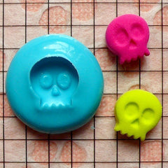 Skeleton / Skull (10mm) Silicone Flexible Push Mold - Jewelry, Charms (Clay, Fimo, Casting Resin, Wax, Gum Paste, Fondant) MD669