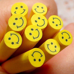Polymer Clay Cane - Yellow Smiling / Smiley Face - for Miniature Food / Dessert / Cake / Ice Cream Sundae Decoration and Nail Art CE028