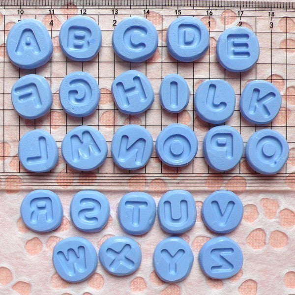 Set of Alphabet A-Z (8mm) Silicone Flexible Push Mold - Miniature Food, Sweets, Jewelry, Charms (Clay Fimo Resins Gum Paste Fondant) MD732