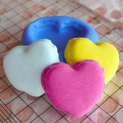 French Heart Shaped Macaron (19mm) Silicone Flexible Push Mold - Miniature Food, Sweets, Jewelry, Charms (Clay Fimo Gum Paste Fondant) MD255