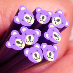 Polymer Clay Cane - Animal - Purple Bear - for Miniature Food / Dessert / Cake / Ice Cream Sundae Decoration and Nail Art CAN031