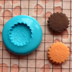 Silicone Flexible Push Mold - Flower / Scallop Edge Cookie / Biscuit (13mm) Miniature Food, Sweets, Charms (Resin, Paper Clay, Fimo) MD172
