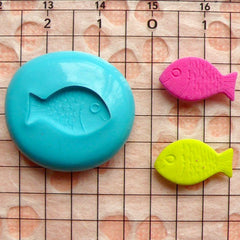 Fish (15mm) Silicone Flexible Push Mold - Jewelry, Charms, Cupcake (Clay Fimo Sculpey Premo Casting Resins Epoxy Gum Paste Fondant) MD461