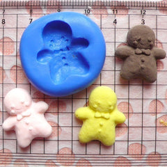 Gingerbread Man with Bow (21mm) Silicone Flexible Mold - Craft, Jewelry, Charms (Clay, Fimo, Resins, Gum Paste, Fondant) MD261