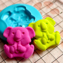 Koala (15mm) Silicone Flexible Push Mold - Jewelry, Charms, Cupcake (Clay, Fimo, Wax, Soap, Epoxy, Casting Resins, Gum Paste, Fondant) MD419