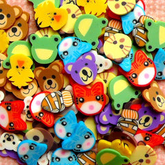 Polymer Clay Cane Animal Assorted Fimo Cane Slices Mix Mini Sweets Decoden Kawaii Nail Art Decoration (100pcs) (by random) CMX012