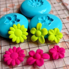 Set of 3 Flower / Sakura / Sunflower (9 and 11mm) Silicone Flexible Push Mold - Jewelry, Charms (Clay Fimo Resins Gum Paste Fondant) MD591