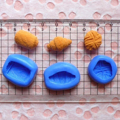 3 Croissant Mold Pastry Bread Mold 15-19mm Silicone Flexible Mold Dollhouse Bakery Miniature Sweet Cell Phone Deco Kawaii Cabochon MD204-206
