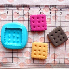 Cookie Mold Square Biscuit 16mm Flexible Silicone Mold Miniature Sweets Deco Mold Fimo Polymer Clay Charms Kawaii Cabochon Resin Wax MD145