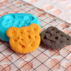 Silicone Mold Bear Cookie Biscuit Mold 19mm Miniature Sweets Deco Fimo Polymer Clay Jewelry Charms Kawaii Cabochon Resin Flexible Mold MD757