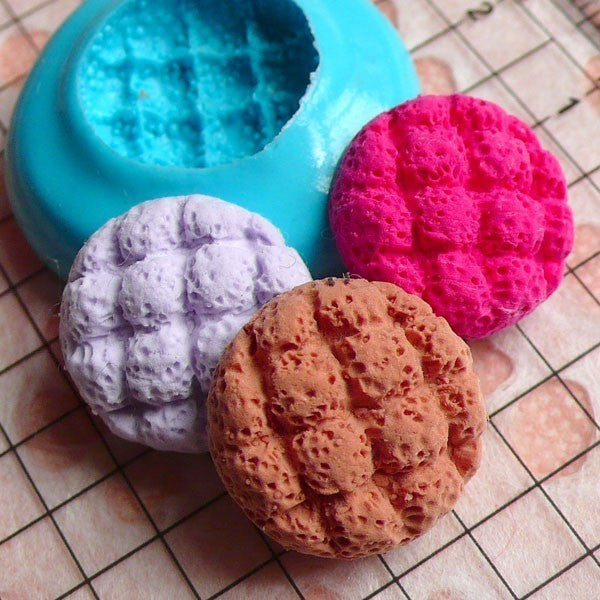 Melon Cross Bun Mold Bread Mold 16mm Silicone Flexible Mold Miniature Food Dollhouse Bakery Kitsch Jewelry Charms Sweets Cabochon MD210