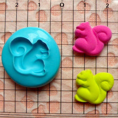 Squirrel (16mm) Silicone Flexible Push Mold - Jewelry, Charms, Cupcake (Clay Fimo Casting Resins Epoxy Wax Soap Gum Paste Fondant) MD430