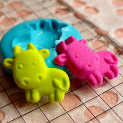 Cow (16mm) Silicone Flexible Push Mold - Jewelry, Charms, Cupcake Topper (Clay Fimo Sculpey Premo Resin Epoxy Wax Gum Paste Fondant) MD425