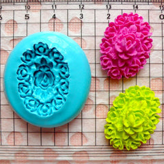 Oval Flower / Rose Cameo (25mm) Silicone Flexible Push Mold - Miniature Food, Sweets, Jewelry, Charms (Clay, Fimo, Gum Paste, Fondant) MD612
