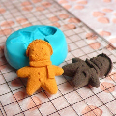 Silicone Mold Gingerbread Man Scarf 20mm Miniature Food Kawaii Deco Sweets Fimo Polymer Clay DIY Jewelry Charms Cabochon Flexible Mold MD264