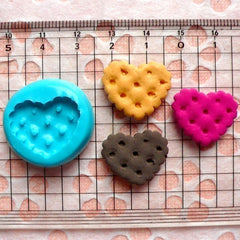 Biscuit Cookie Mold Heart 20mm Silicone Flexible Mold Decoden Kawaii Miniature Sweets Fimo Polymer Clay Cabochon Jewelry Charms Resin MD825