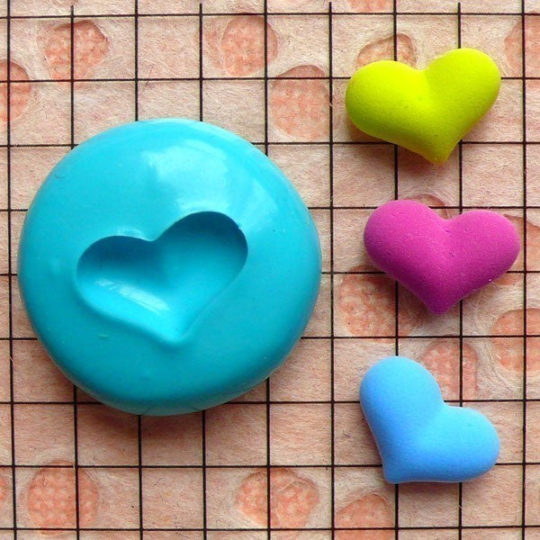 Puffy Heart (13mm) Silicone Flexible Push Mold - Jewelry, Charms, Cupcake (Clay, Fimo, Casting Resins, Epoxy, Wax, Soap, Fondant) MD500