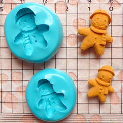 Silicone Mold Gingerbread Man w/ Scarf 2pcs 17,20mm Miniature Food Kawaii Deco Sweets Fimo Polymer Clay Charms Resin Flexible Mold MD263-264
