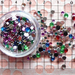 2mm 3mm Round Faceted Rhinestones / Cabochons Set (Around 450-500 pcs / 3gram) (Assorted Color) RHM004