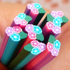 Polymer Clay Cane - 3 Flower with Leaf- for Miniature Food / Dessert / Cake / Ice Cream Sundae Decoration and Nail Art CFW061